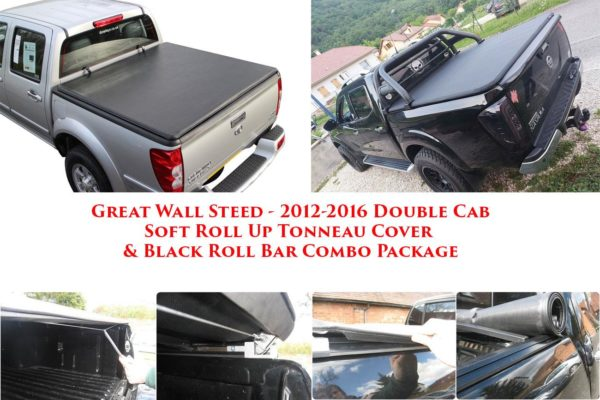 Great wall Steed Soft Roll Tonneau Cover and Black Roll Bar Combo