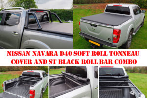 Nissan Navara D40 Soft Roll Up Tonneau and ST Roll Bar COMBO