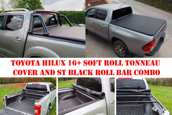 Toyota Hilux 16+ Soft Roll Up Tonneau and ST Roll Bar COMBO
