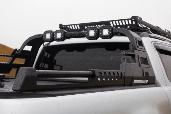 Ford Ranger T6 Tesser Roller Shutter with COMBAT Roll Bar Roof Basket LED Light Pods