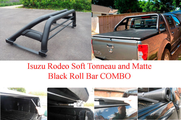 Isuzu Rodeo Soft Roll Tonneau Cover and Black Roll Bar COMBO