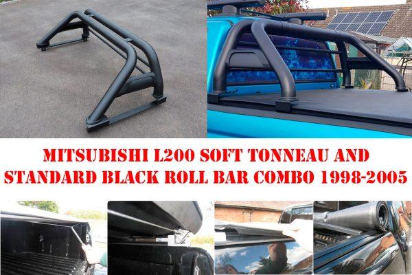 Mitsubishi L200 1998-2005 Soft Roll Tonneau Cover and Standard Black Roll Bar