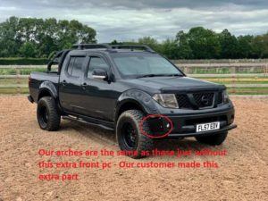 Nissan Navara D40 Insuction Wheel Arch Extensions - Wide with Rivet