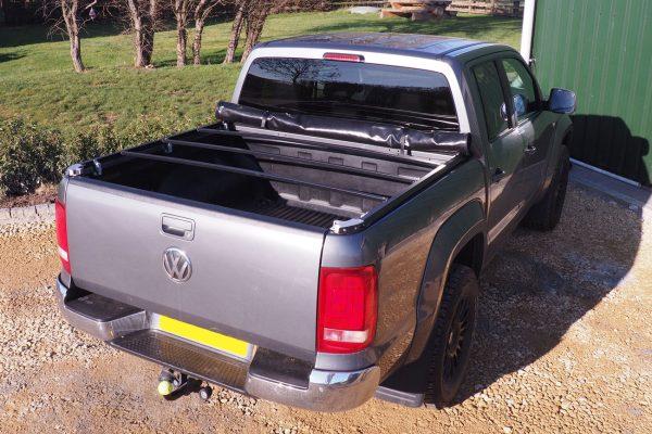 Soft Roll Up Tonneau AND F1 BLACK Roll Bar For VW Amarok