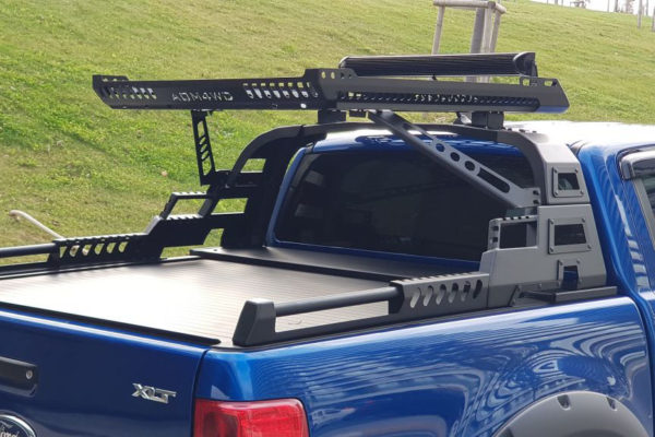 Mitsubishi L200 Series 5 Combat Style Roll Bar Adds Aggression with BLACK Roof Basket Cargo Carrier