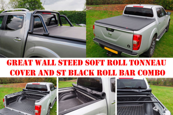 Great Wall Steed Soft Roll Tonneau Cover and ST Black Roll Bar Combo