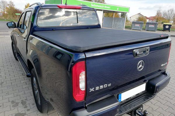 Mercedes X Class Soft Roll Up Tonneau Cover with Black ST Roll Bar