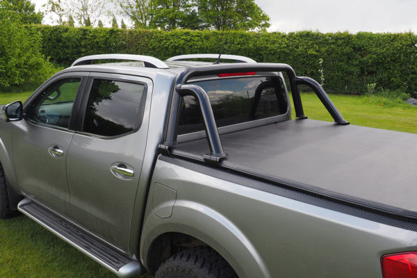 Mercedes X Class Black ST Style Roll Bar with Soft Roll Up Tonneau Cover Vinyl Combo