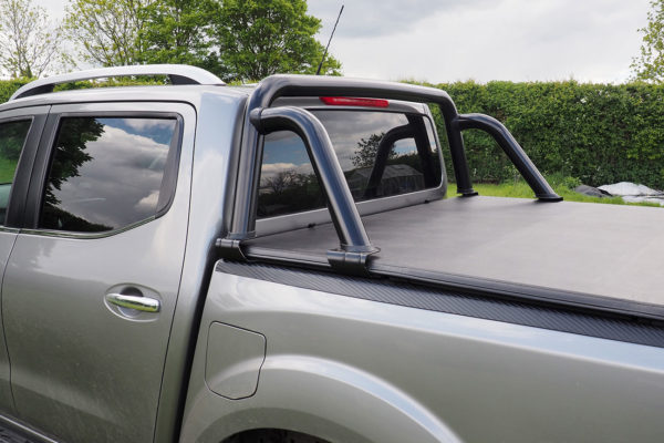 Mercedes X Class Black Soft Roll Up Tonneau Cover Load Bed Cover with Black ST Style Roll Bar Styling Bar Combo