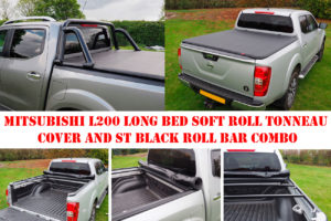 Mitsubishi L200 Long Bed Soft Roll Tonneau Cover and ST Black Roll Bar Combo