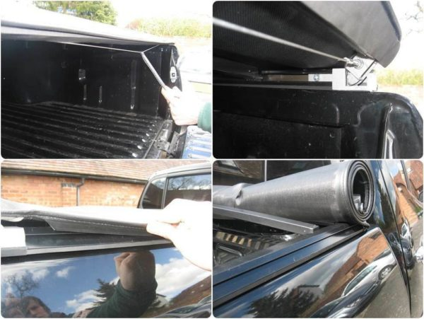 Mitsubishi L200 Long Bed Soft Roll Vinyl Tonneau Cover with New Style Black Roll Bar Combo