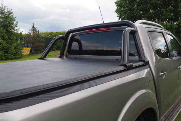 Mitsubishi L200 Long Bed Soft Roll Load Bed Cover with Black ST Style Roll Bar Combo