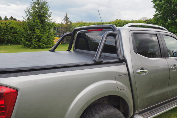Mitsubishi L200 Long Bed Soft Roll Vinyl Tonneau Cover with Black Rear Roll Bar ST Style