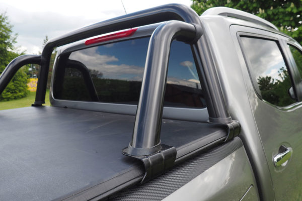 Mitsubishi L200 Short Bed Soft Roll Up Load Bed Cover Tonneau with Black ST Style Roll Bar Combo Deal