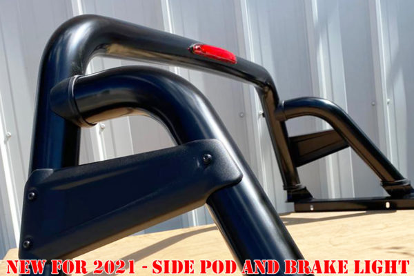 Ford Ranger 1999-2011 New Style Black Roll Bar with Side Pods and Brake Light