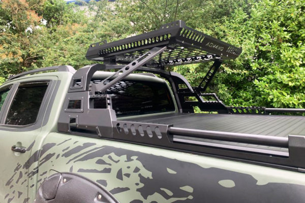 Mitsubishi L200 Long Bed Aggressive Black Combat Style Roll Bar and Roof Basket Combo