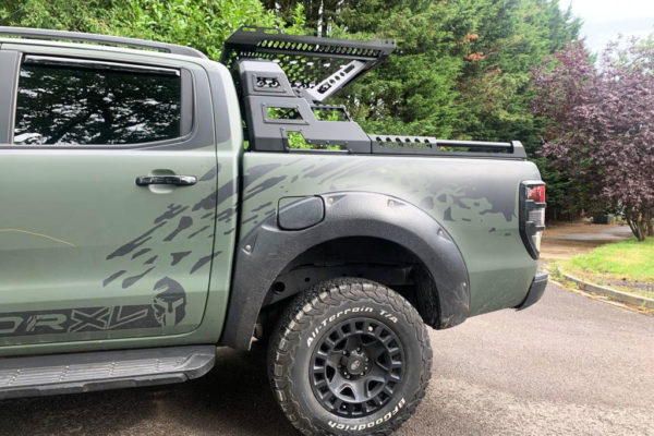 Mitsubishi L200 Long Bed Combat Style Roof Basket and Roll Bar Black