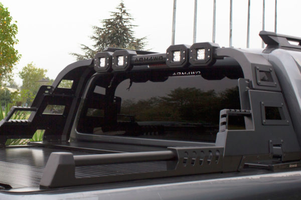 Mitsubishi L200 Series 4 Long Bed Combat Style Black Roll Bar Rear Styling Bar with LED Lights