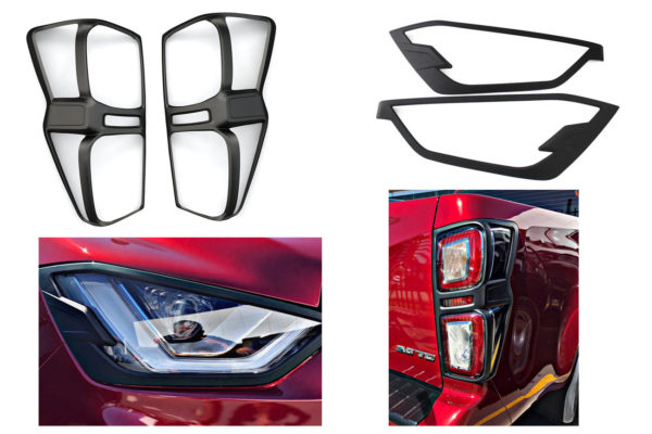 Isuzu Dmax Front and Rear Light Surrounds Pack - Black - 202