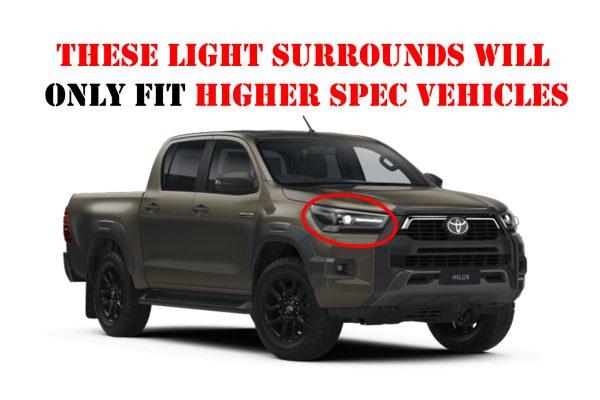 Toyota Hilux 2021+ Black Headlight Cover Guard Surround Styling Trims Matte Finish