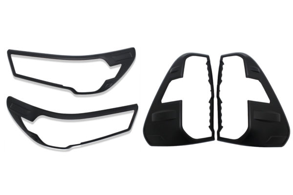 Toyota Hilux 2021 Front and Rear Light Guard Surround Trims Matte Black Finish