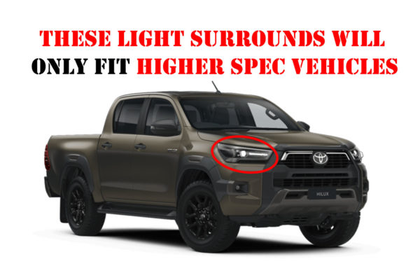 Toyota Hilux 2021+ Front and Rear Light Surround Trims Matte Black Finish