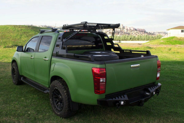 Isuzu Dmax 2021+ Black Combat Roll Bar and Roof Basket Combo Upgrade Aggressive Bulky Style
